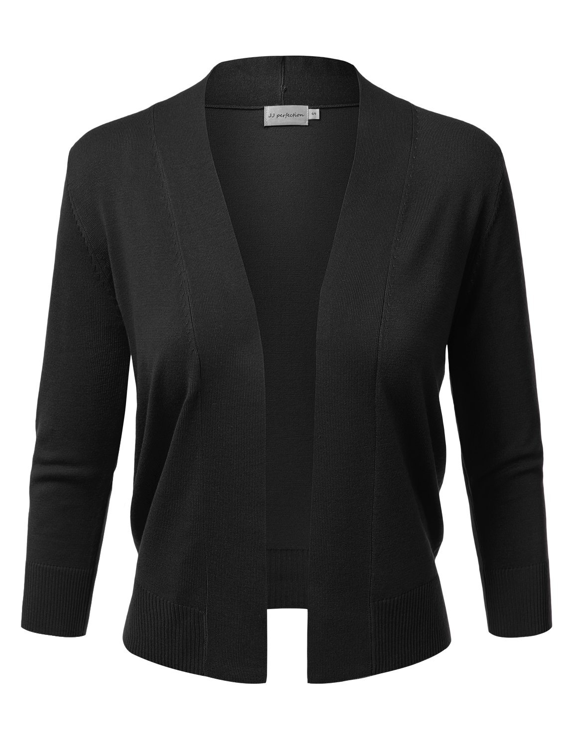 JJ Perfection Women's Basic 3/4 Sleeve Open Front Cropped Cardigan Black M