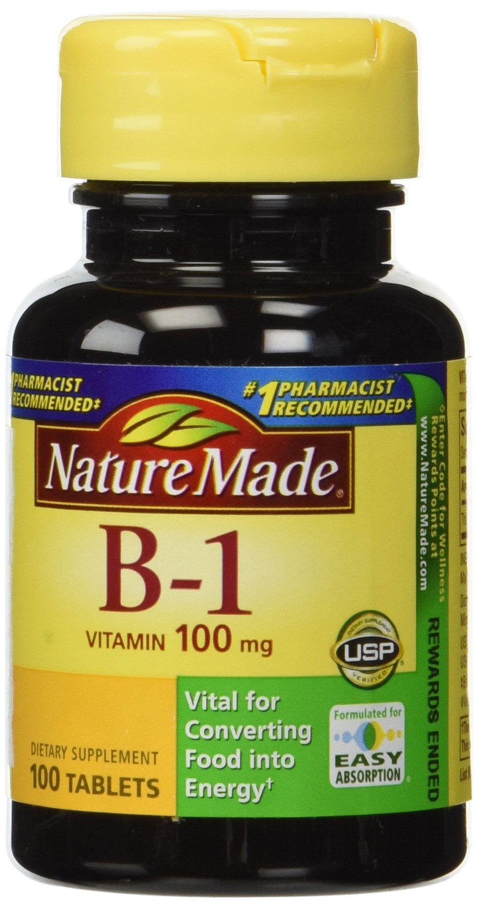 Nature Made Vitamin B-1 100 mg, 100 Tablets (Pack of 3)