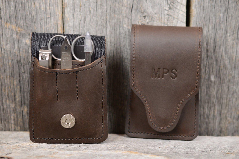 Personalized Mens Leather Manicure Set Monogram | Brown Manicure Case | Custom Groomsmen Gift for Man Boyfriend Husband Brother Dad Grad