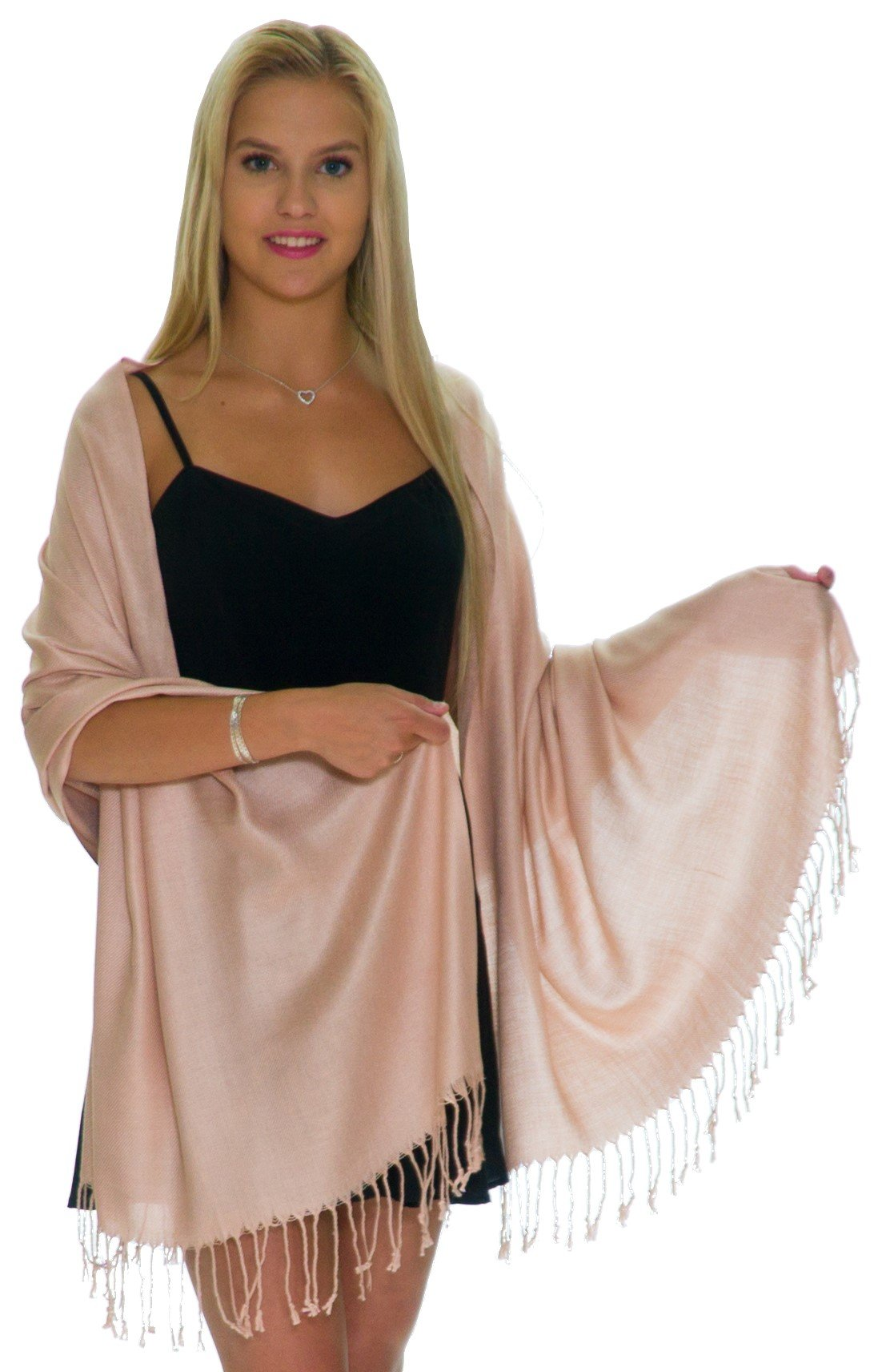 Pashmina Shawls and Wraps - Large Scarfs for Women - Party Bridal Long Fashion Shawl Wrap with Fringe Petal Rose - Pale Rose Gold by ShineGlitz
