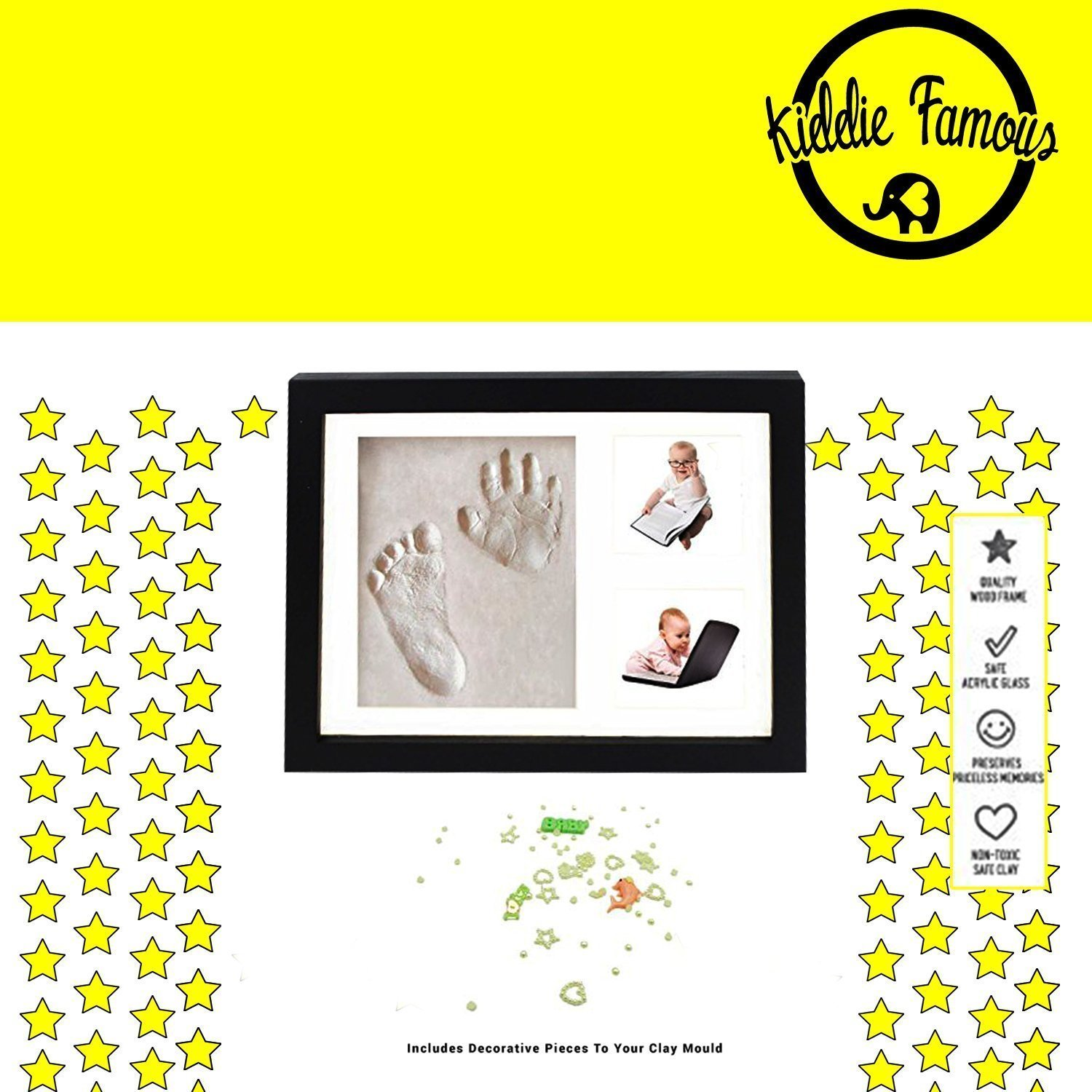 100% ORGANIC Baby Handprint Kit (BLACK) | SAFE, NO MOLD| Baby Picture Frame, Baby Footprint kit, Perfect for Baby Boy gifts,Top Baby Girl Gifts, Baby Shower Gifts, Newborn Baby Keepsake Frames
