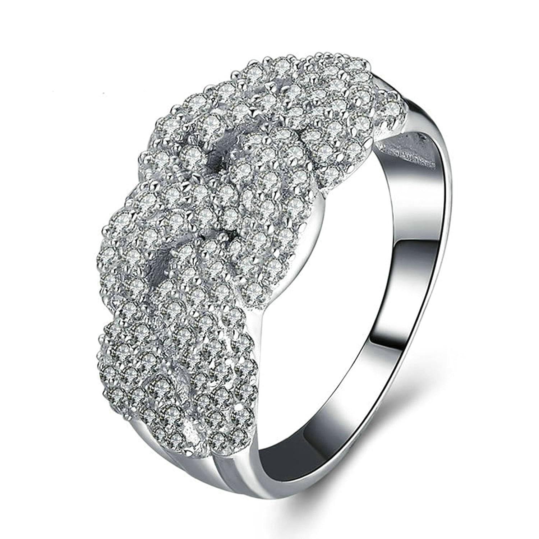 Anazoz 指輪 レディース シルバー 925 アクセサリー 「華やかな恋」 キラキラ グッドカット Cz 婚約指輪 結婚指輪 恋人愛の贈り物 サイズ: 20号 B07L2K8RHQ 20