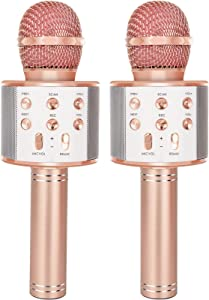 YONHAN 2-Pack Wireless Bluetooth Karaoke Microphone, Portable Handheld Mic Speaker Music Player Recorder for Christmas, Birthday, Home Party More - Rose Gold