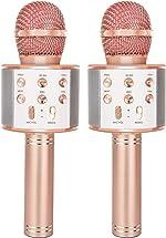 YONHAN 2-Pack Wireless Bluetooth Karaoke Microphone, Portable Handheld Mic Speaker Music
