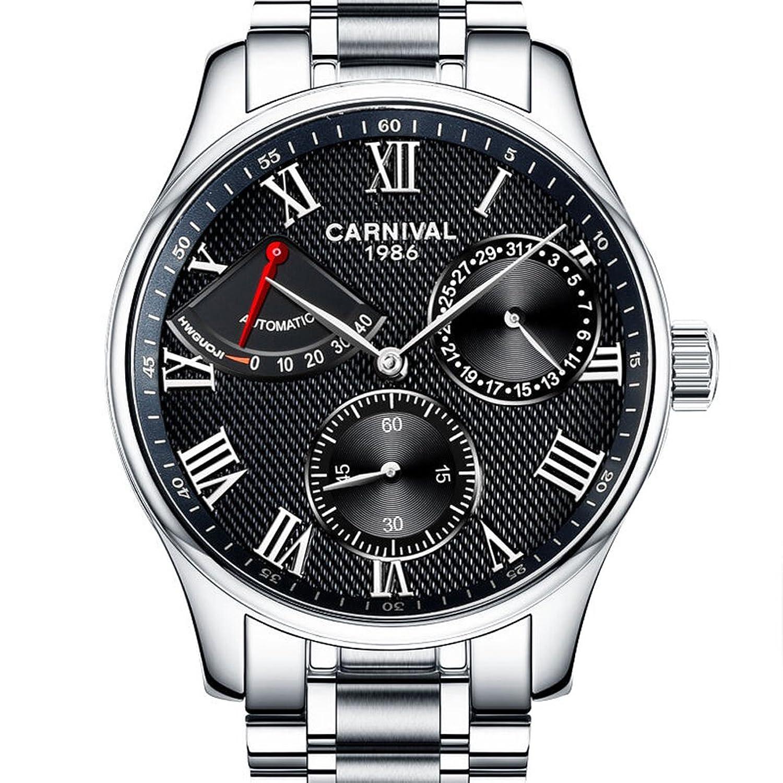 jianianhua Herren Business Multifunktions Edelstahl Armband Automatische self-wind Mechanische Uhr Armbanduhr – Silber