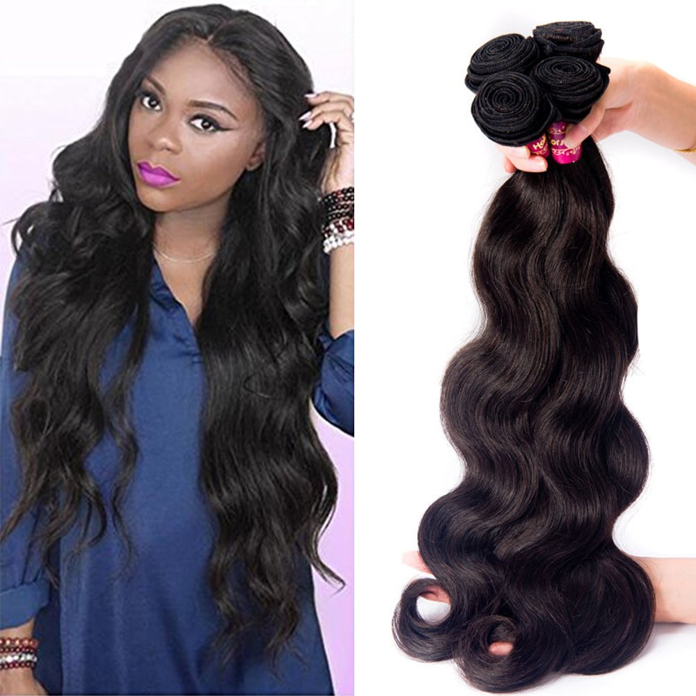 Zorssar Hair 10A Unprocessed Virgin Brazilian Hair Body Wave Weave 4 bundles 100% Remy Human Hair Extensions Natural Color 100g/pc Can be Dyed and Bleached (28 28 28 28)