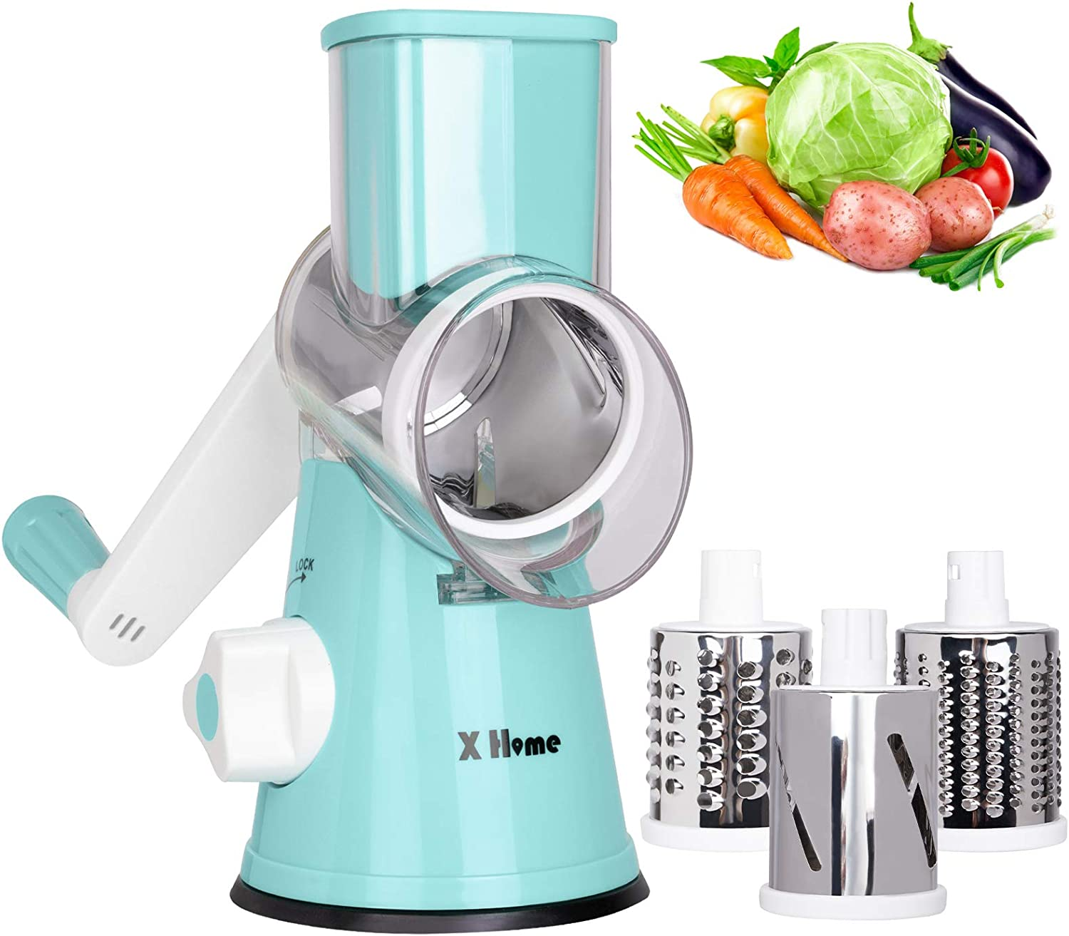 X Home Rotary Cheese Grater, 3 Drum Blades Cheese Shredder, Manual Vegetable Shredder Slicer Grinder with Strong Suction Base, Easy-to-clean (Blue)
