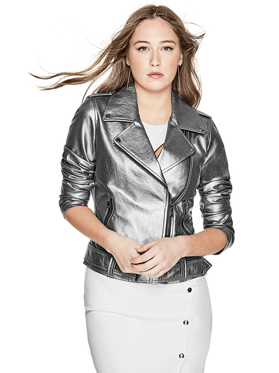 GUESS Women's Metallic Moto Jacket