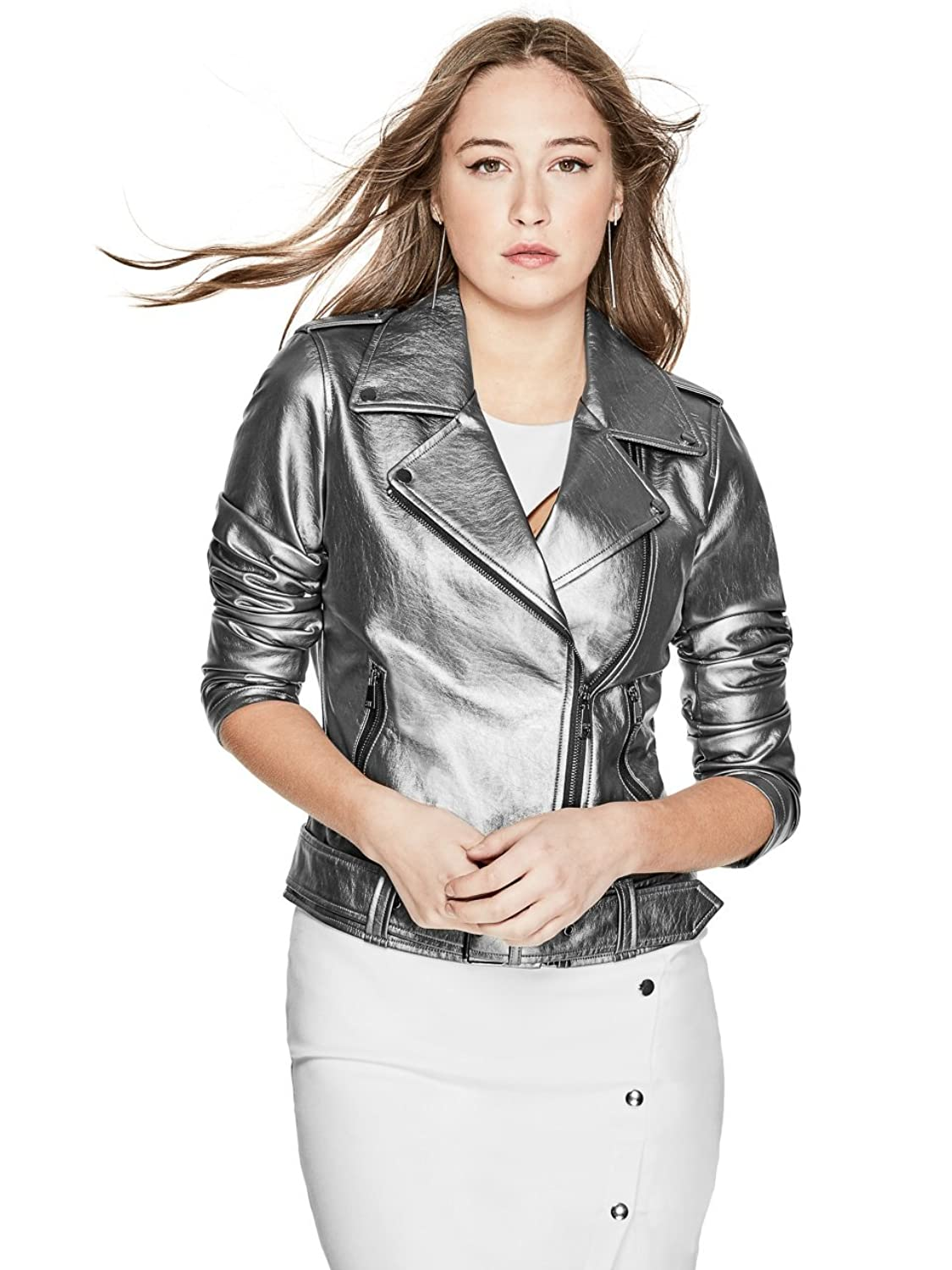 GUESS Womens Metallic Moto Jacket