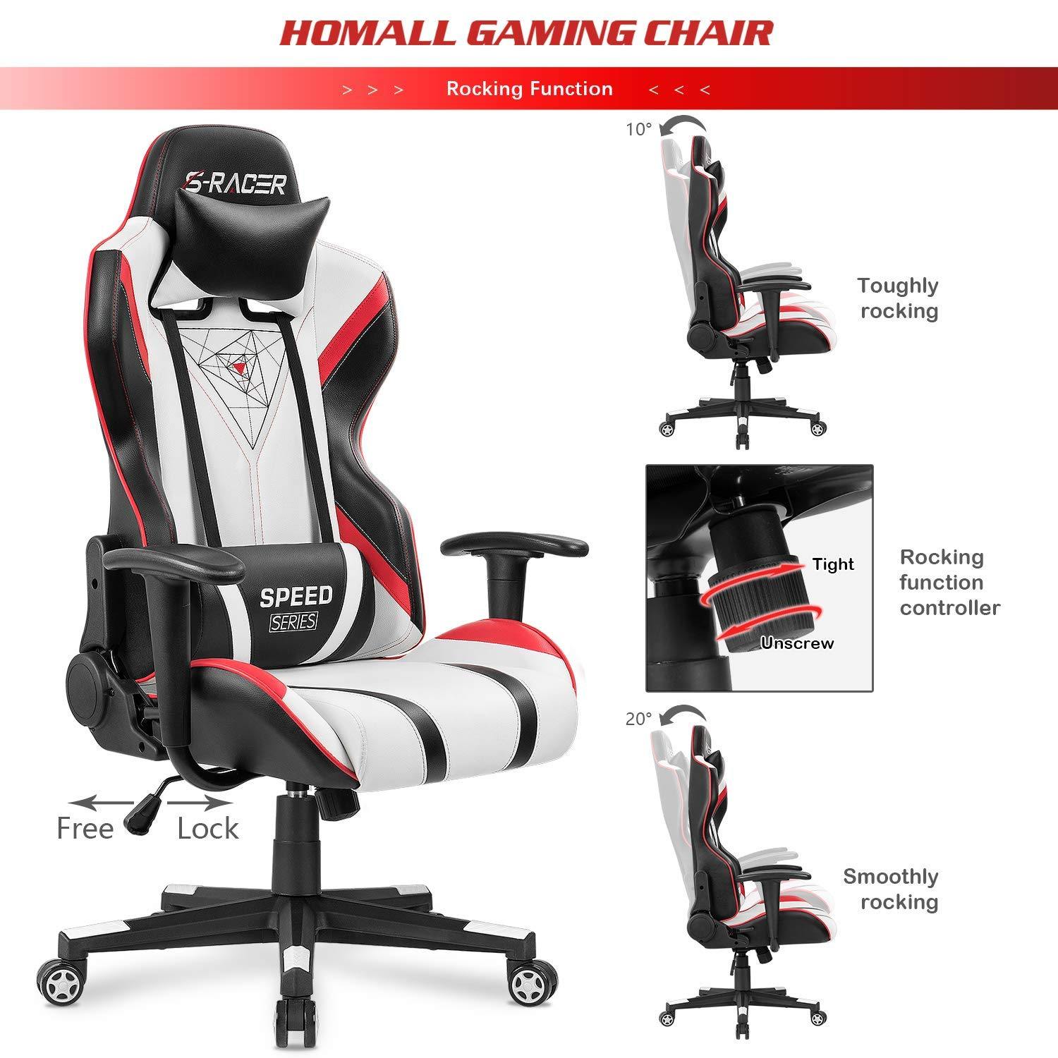 Homall Gaming Racing Office High Back PU Leather Computer Desk Executive and Ergonomic Swivel Chair with Headrest White