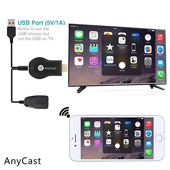 Anycast DLNA WiFi Miracast TV Dongle HDMI Multi-display 1080P Receiver Air  Mirror Mini Android TV Stick (Assorted Colour)