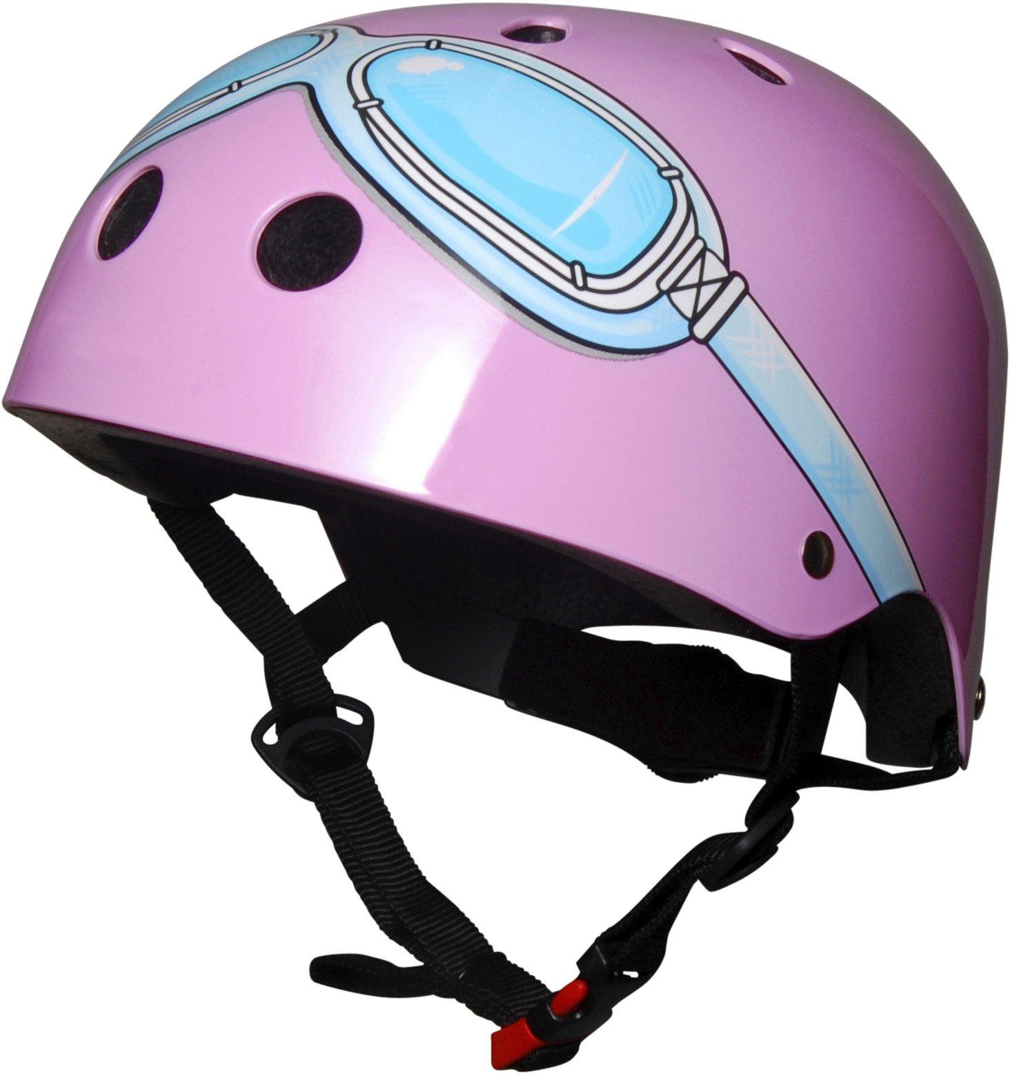 Kiddimoto Kids Patterned Helmet (Pink Goggle, Small)