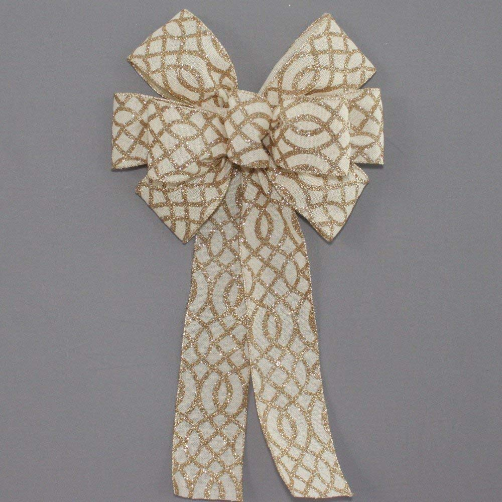 available in 2 sizes Ivory Linen Gold Sparkle Christmas Wreath Bow