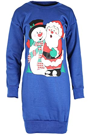 9c9a716e7f7 Womens Christmas Jumper Sweats Ladies Santa Snowman Knitted Xmas Sweater  Dress Plus Size (UK 20