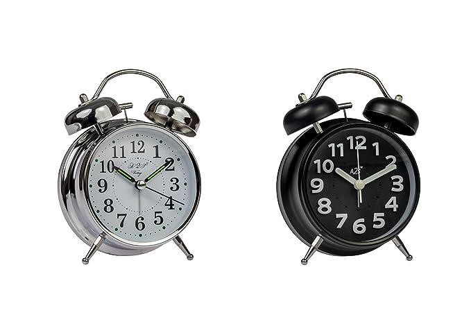 Relojes de Alarma A2S - Campana Doble, analógico y Funciona con batería - Ideal para durmientes Pesados y cade Viajes (clásico Tipo de Plata) - Juego de 2 ...