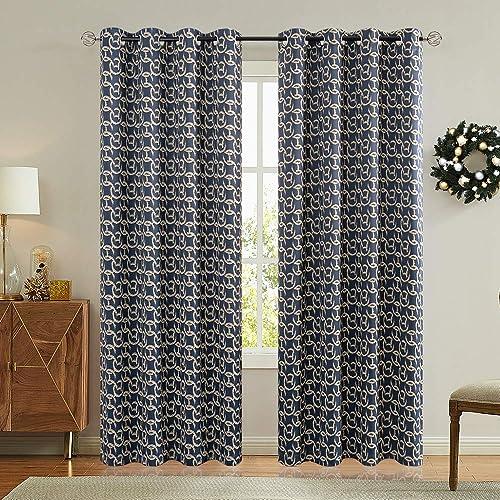jinchan Blackout Curtains for Bedroom Living Room Darkening Modern Chain Print Drapes Grommet Top 2 Panels