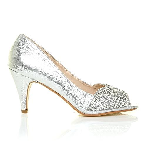 ba15f62c195 June Silver Shimmer Diamante Peep Toe Mid Heel Embellished Wedding ...