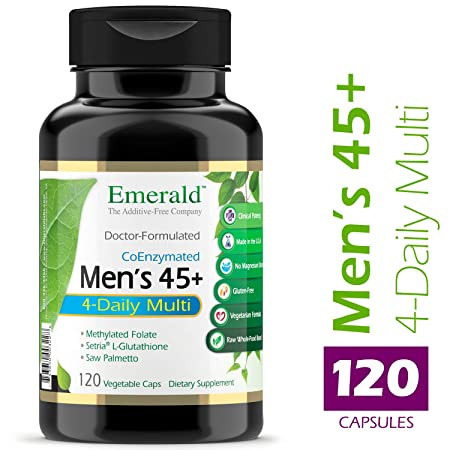 Men s 45 4-Daily Multi – Multivitamin with CoQ10, Saw Palmetto Extra Lycopene – Supports Heart Health, Energy Boost, Immune System, Strong Bones – Emerald Laboratories – 120 Vegetable Capsules
