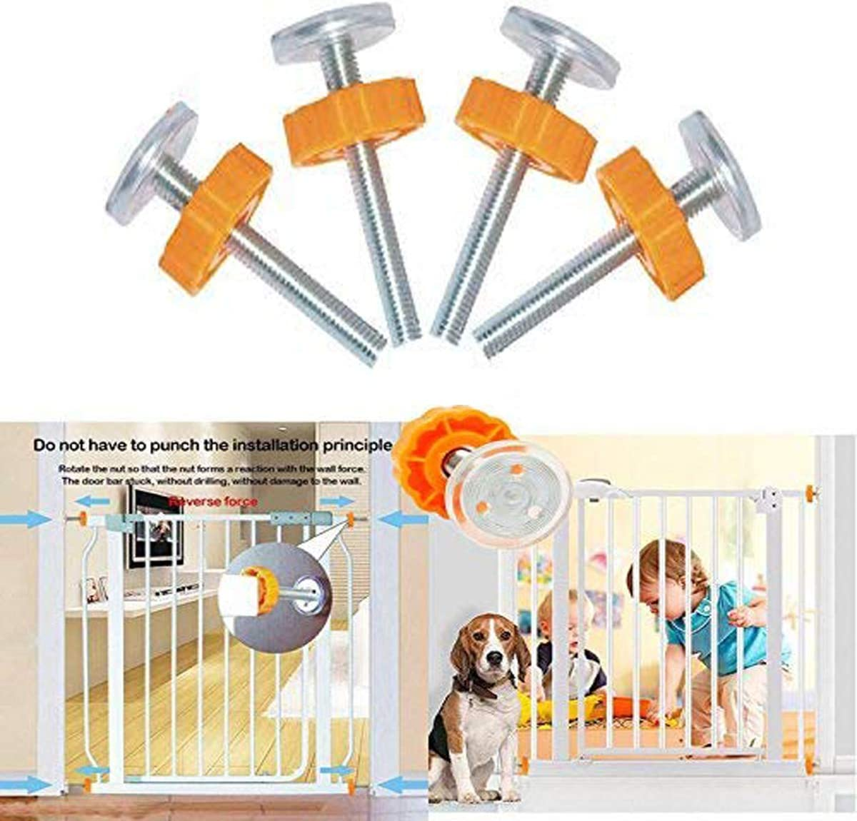 5 Pack Pressure Mounted Baby Gates Threaded Spindle Rods M10 Stairgate Fittings for Pressure Mounted Baby Safety Gates and Pet Safety Gates