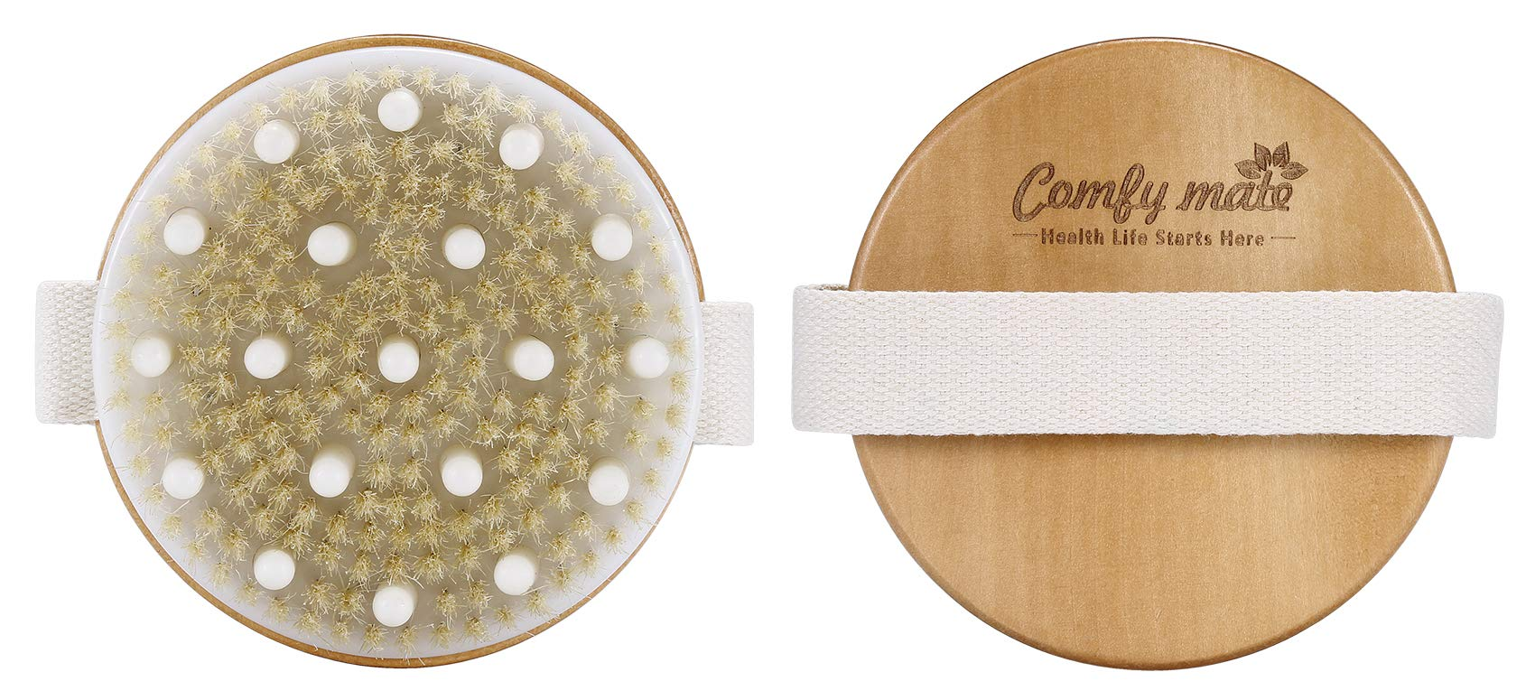 Dry Brushing Body Brush - Cellulite Massager Best for Get Rid of Cellulite, Glowing Skin, Dry Skin Exfoliating, Improves Lymphatic & Stimulates Blood Functions, with Massage Nodes & Natural Bristles
