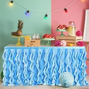 Leegleri 9 ft Curly Willow Table Skirt Tulle Ruffle Table Skirt for Rectangle Table or Round Table,Tutu Table Skirt for Baby Shower,Birthday Shark Themed Party(under the sea table skirt,L 9(ft)H 30in
