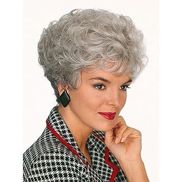 SHKY Señoras Old Lady Curly Curly Silver Grey Peluca accesorio para ancianos peluca de lujo