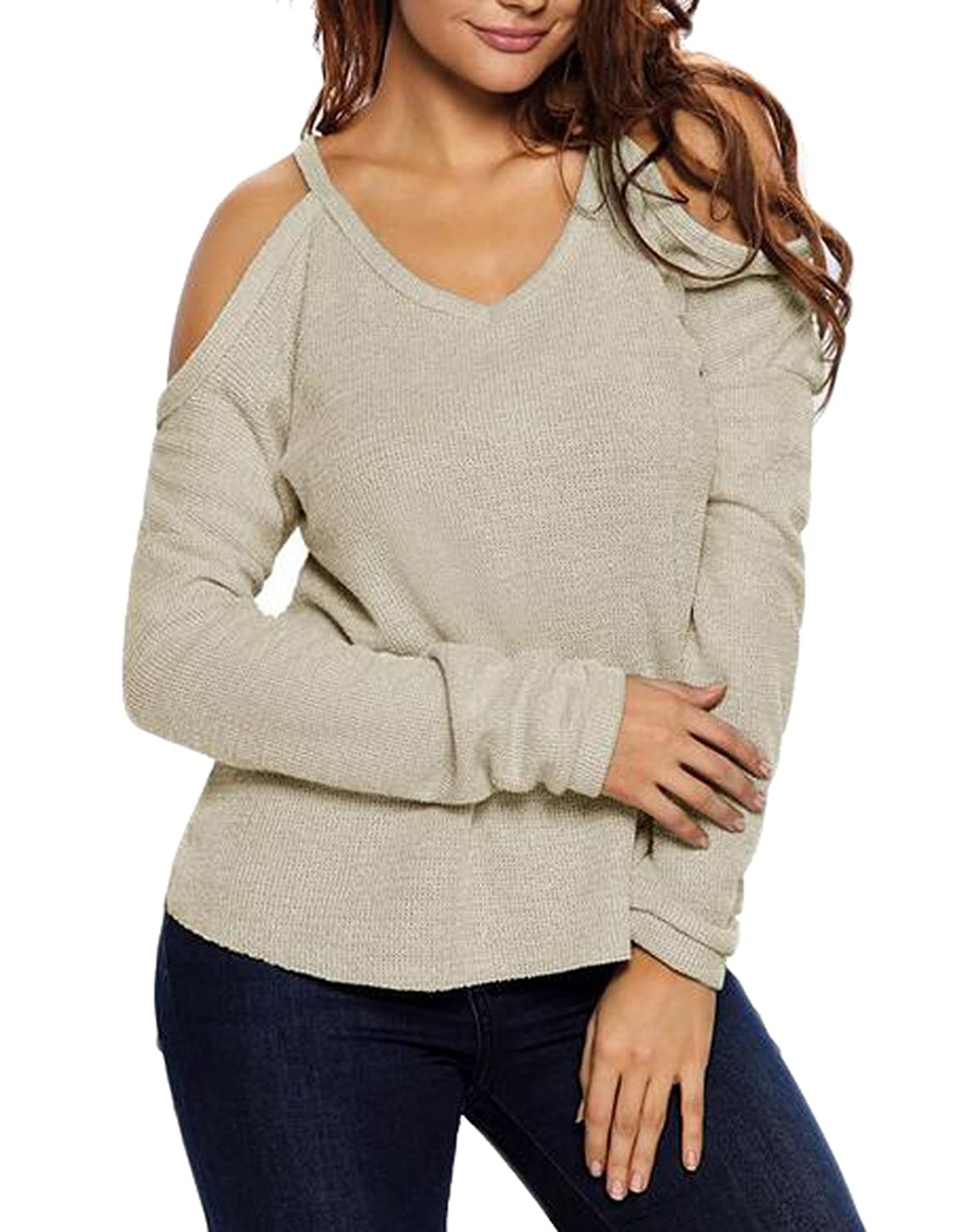 NQ Womens Sexy Off Shoulder V Collar Knit Sweater