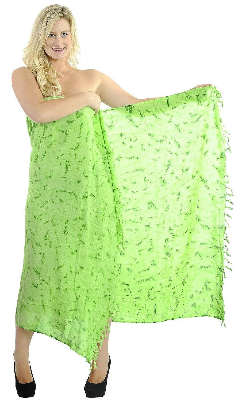 La Leela weichen, sanften Rayon tie dye grün 5 in einem Bademode/Badeanzug vertuschen/Tunika/sundress/Bikini Schlitz Rock/Damen Pareo/plus Größe Badeanzug Sarong langes Kleid 187x121 cm wickeln