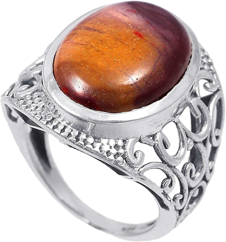 Anillo de plata de ley 925 para mujer|anillo de piedra preciosa natural Jaspe|Banda de boda para las mujeres|Piedras preciosas anillo, anillo de compromiso |Tamaño del anillo 14.5 (R155)