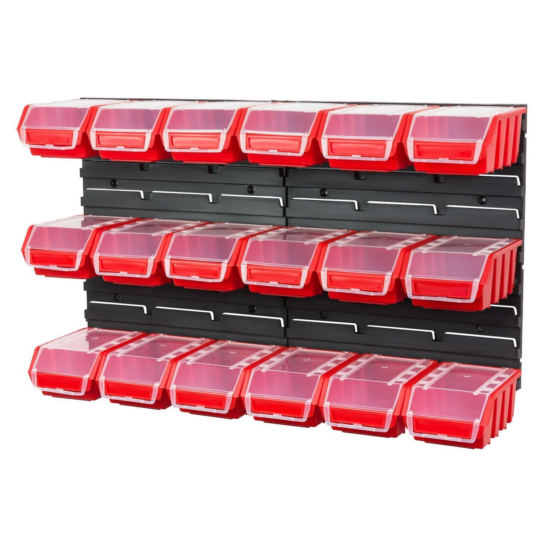 Lot pour rangement garage plaques avec 18 Ergobox bacs a bec en rouge
