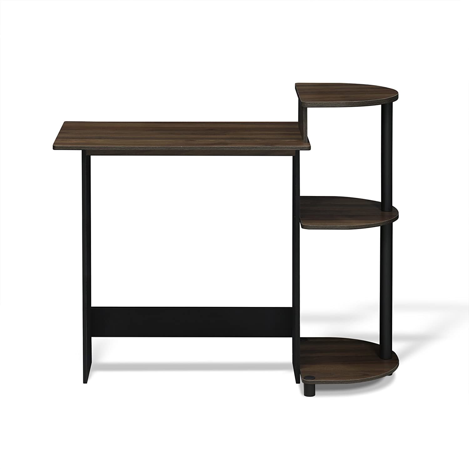 Round Side Columbia Walnut//Black Furinno 11181CWN//BK Compact Computer Desk with Shelves