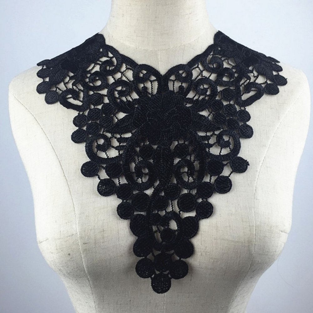 USJee Black Flower Venise Lace Trim Collar Lace Applique Patches Neckline Sewing DIY Peacock Hill