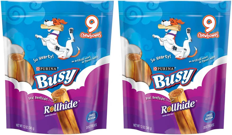 Purina Busy Rollhide Dog Bone Treats 2 Pack – 12 Ounces – Small Medium 9-Count Per Pouch – 18 Rollhides Total