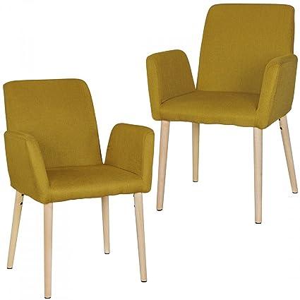 Set di 2 Retro sedia OSLO curry con braccioli design scandinavo ...