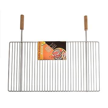 ruecab 1075 Simple rejilla para barbacoa de acero inoxidable mango madera plata 3 x 67,
