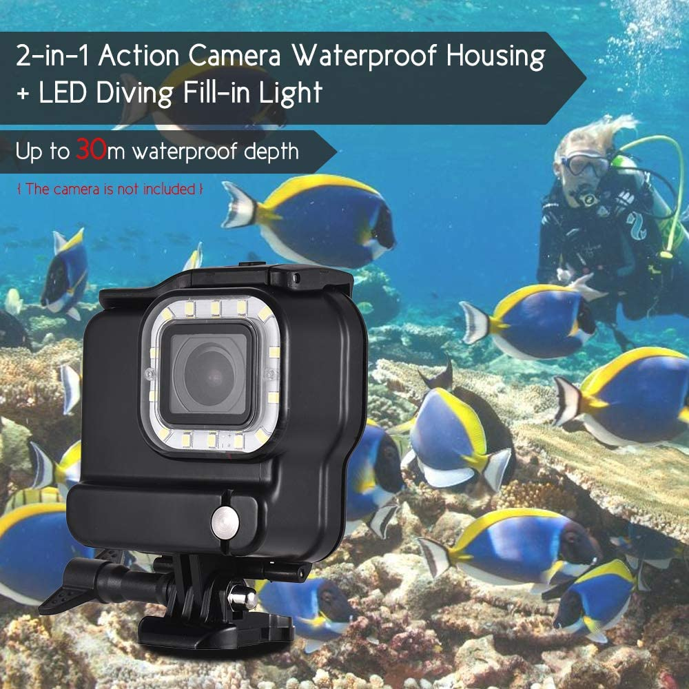 Andoer Action Camera Waterproof Housing with LED Diving Fill-in Light 14pcs LEDs 3 Lighting Modes 300LM Underwater 30m with Rechargeable Battery for GoPro Hero 6 5 Sports Cameras