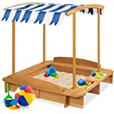 Best Choice Products Kids Wooden Cabana Sandbox Play Station for Children, Outdoor, Backyard w/ 2 Bench Seats, UV-Resistant C
