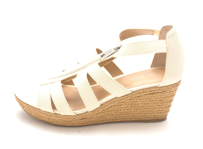 Lauren by Ralph Lauren Womens Kelcie Fabric Open Toe Casual Espadrille Sandals B07B6MMC6G 8.5 B(M) US|Cream