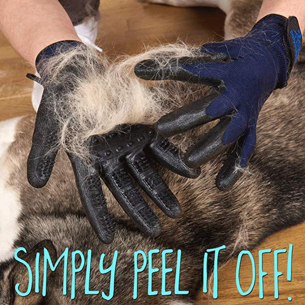 WE&ZHE Pet Grooming Gloves - Left & Right Cats, Dogs & Horses - Long & Short Fur - Gentle De-Shedding Brush - Pet to Float Hair Beauty Gloves,5PCS by WE&ZHE (Image #6)