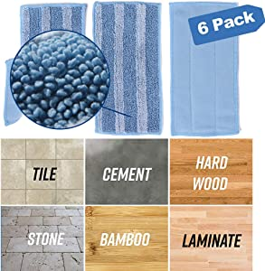 RUILLSEN Microfiber Mop Pads Washable,Flat Spray Cleaning Mop Replacement Heads for Wet/Dry Pads Refills 6 Pack