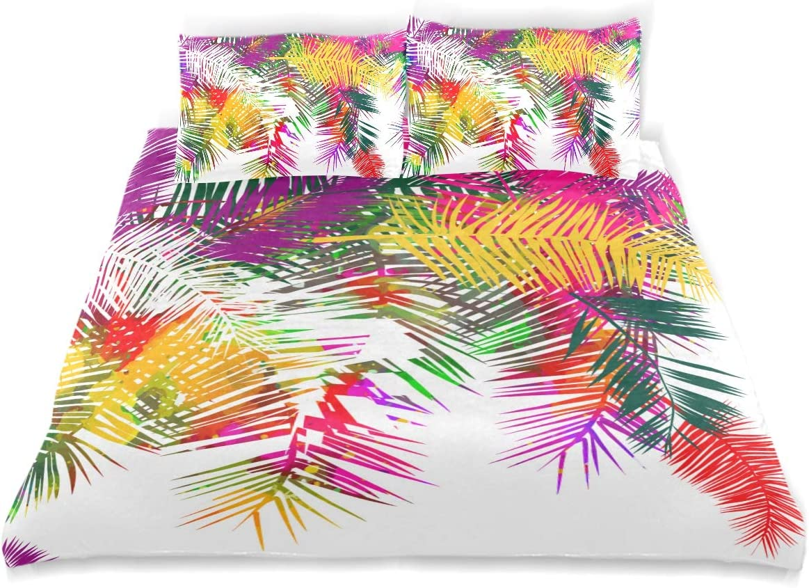 Minalo Duvet Cover Set Background Rainbow Colored Palms Trees Decorative 3 Piece Bedding Set with 2 Pillow Shams Queen Size