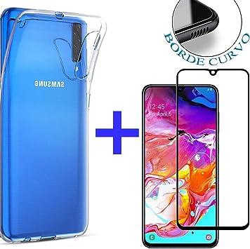 PACK】 Cristal Templado Completo A70 + Funda para Samsung A70 2019 ...
