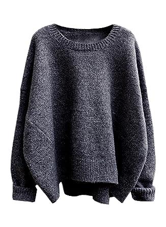 d5e29ea82021 FUTURINO Women s Autumn Winter Solid Long Drop Sleeves Loose Knit ...