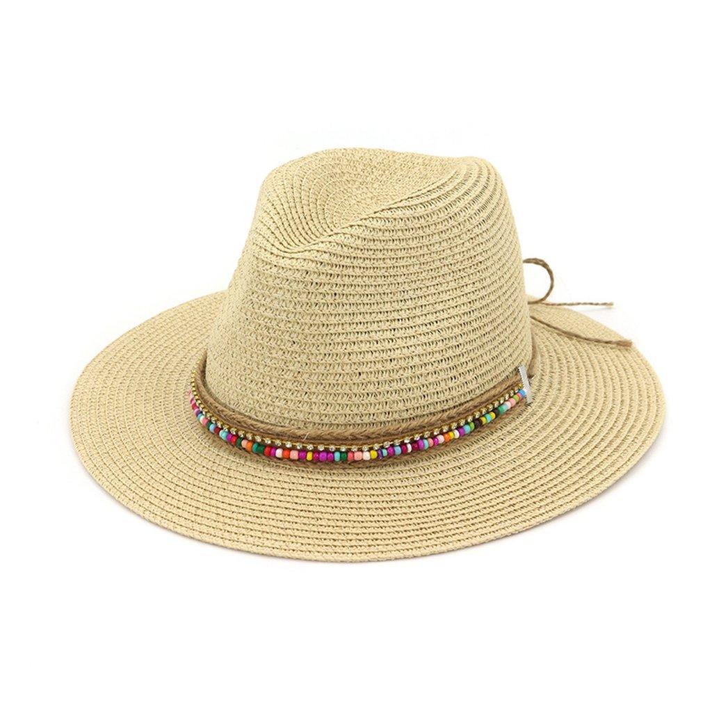 Summer Paper Straw Jazz Sun Hat for Women Outdoor Flat Brim Fedora Panama Cap