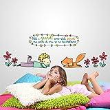 R00158 Adesivo murale per bambini Wall Art - Il Piccolo Principe e la volpe - Misure 30x120 cm - Decorazione parete, adesivi per muro, carta da parati
