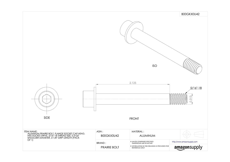 Plain Finish Hex Socket Drive 0.3125 Shoulder Diameter Pack of 1 5//16-18 Thread Size Aluminum Prairie Bolt Flange Socket Cap Head Made in US 2-1//8 Grip Length