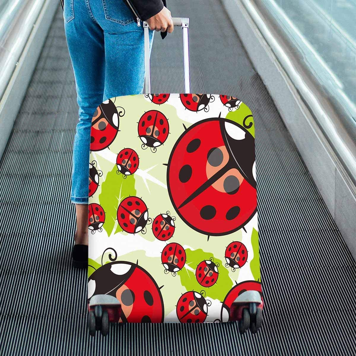 INTERESTPRINT All Over Print Luggage Covers Suitcase Protective Covers Ladybug Wallpaper Fit 26-28 Inch Luggage