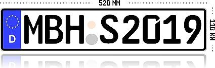 Mbh Shop Kfz Kennzeichen Autokennzeichen Wunschkennzeichen Nummernschild Pkw Kennzeichen Fahrradträger Anhänger Reflektierend Individualisierbar Auto