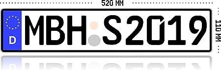 1 Kfz Kennzeichen Eu 520 Mm X 110 Mm Autoschild Mit Wunschkennzeichen Auto