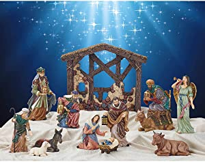 Kirkland Signature Hand-Painted 13-Piece Christmas Holiday Nativity Set Decor